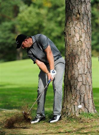 HILVERSUM, NETHERLANDS - SEPTEMBER 11: Daniel Vancsik of Argentina plays his approach shot on the nineth hole during the third round of  The KLM Open Golf at The Hillversumsche Golf Club on September 11, 2010 in Hilversum, Netherlands.  (Photo by Stuart Franklin/Getty Images)