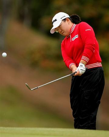SHIMA, JAPAN - NOVEMBER 09: Ji-Yai Shin of South Korea plays into the 7th green during the final round of 2008 Mizuno Classic at Kintetsu Kashikojima Country Club on November 9, 2008 in Shima, Mie, Japan. (Photo by Koichi Kamoshida/Getty Images)