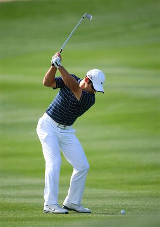 MARANA, AZ - FEBRUARY 19:  Paul Casey of England plays his second shot on the second hole during round three of the Accenture Match Play Championship at the Ritz-Carlton Golf Club on February 19, 2010 in Marana, Arizona.  (Photo by Hunter Martin/Getty Images)