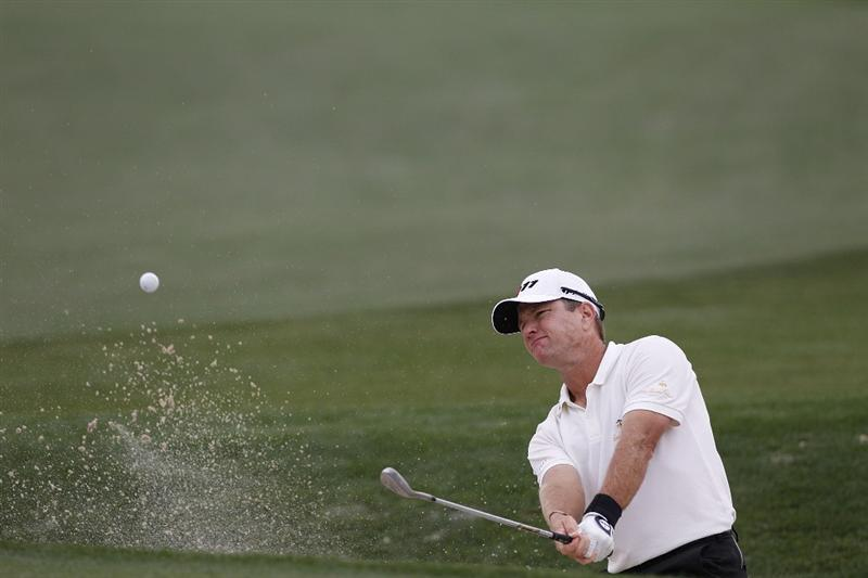 HUMBLE, TX - APRIL 03:  Scott Verplank hits his third shot on the eighth hole from a bunker during the final round of the Shell Houston Open at Redstone Golf Club on April 3, 2011 in Humble, Texas.  (Photo by Michael Cohen/Getty Images)