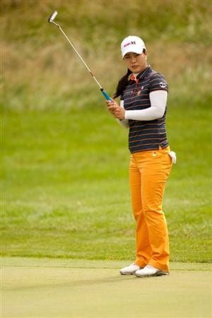 SPRINGFIELD, IL - JUNE 10: Meena Lee of South Korea follows through on a tee shot during the first round of the LPGA State Farm Classic at Panther Creek Country Club on June 10, 2010 in Springfield, Illinois. (Photo by Darren Carroll/Getty Images)