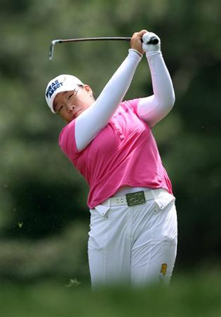 WILLIAMSBURG, VA - MAY 8 : Jiyai Shin of South Korea hits her second shot on the 12th hole during the second round of the Michelob Ultra Open at Kingsmill Resort on May 8, 2009 in Williamsburg, Virgina. (Photo by Hunter Martin/Getty Images)