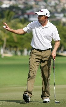 HONOLULU - JANUARY 12:  Tim Wilkinson waves to the crowd after making a birdie on the 18th hole during the third round of the Sony Open at the Waialae Country Club on January 12, 2008 in Honolulu, Oahu, Hawaii.  (Photo by Jonathan Ferrey/Getty Images)