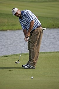 Brad Bryant watches a putt on hole 15 during the second round of the Greater Kansas City Golf Classic at the Nicklaus Golf Club at LionsGate in Overland Park, Kansas on July 1, 2006.Photo by G. Newman Lowrance/WireImage.com
