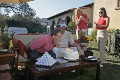 Dave Marr gets a special birthday cake delivery on the Golf Channel couch during the third round of the Charles Schwab Cup Championship held at Sonoma Golf Club in Sonoma, California, on October 28, 2006. Photo by: Chris Condon/PGA TOURPhoto by: Chris Condon/PGA TOUR