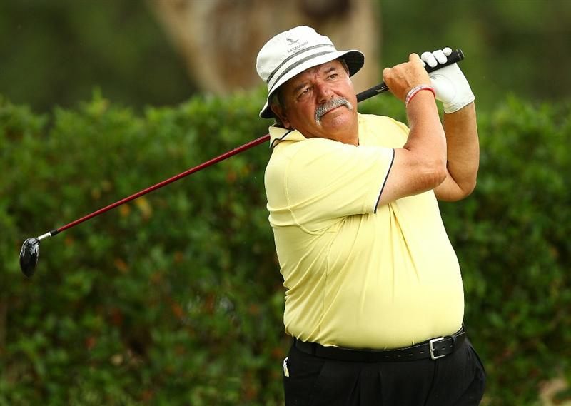 PERTH, AUSTRALIA - NOVEMBER 21:  Rodger Davis of Australia tees off on the 11th hole during day three of the 2010 Australian Senior Open at Royal Perth Golf Club on November 21, 2010 in Perth, Australia.  (Photo by Paul Kane/Getty Images)