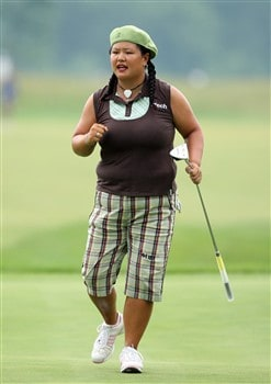 HAVRE DE GRACE, MD - JUNE 05:  Cristina Kim of the USA holes a birdie putt at the eighth hole during the first round of the 2008 McDonald's LPGA Championship held at Bulle Rock Golf Course, on June 5, 2008 in Havre de Grace, Maryland.  (Photo by David Cannon/Getty Images)