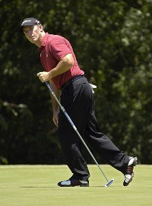 Peter Lonard watches a birdie attempt on the 5th hole during the third round of the Bank of America Colonial held at the Colonial Country Club on Saturday , May 20, 2006 in Ft. Worth, TexasPhoto by Marc Feldman/WireImage.com