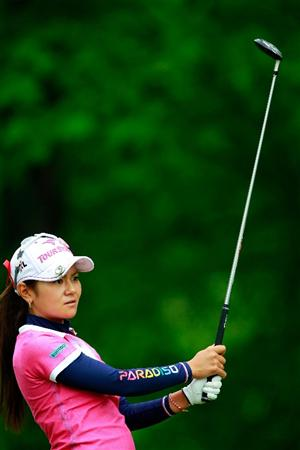 GLADSTONE, NJ - MAY 19:  Ai Miyazato of Japan hits her tee shot on the third hole during round one  of the Sybase Match Play Championship at Hamilton Farm Golf Club on May 19, 2011 in Gladstone, New Jersey.  (Photo by Chris Trotman/Getty Images)