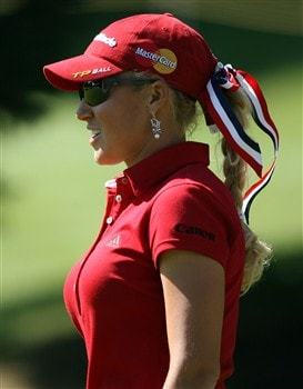 EVIAN, FRANCE - JULY 24:  Natalie Gulbis of the USA is pictured on the 1st hole during the first round of the Evian Masters on July 24 , 2008 at the Evian Masters Golf Club in Evian, France  (Photo by Andy Lyons/Getty Images)