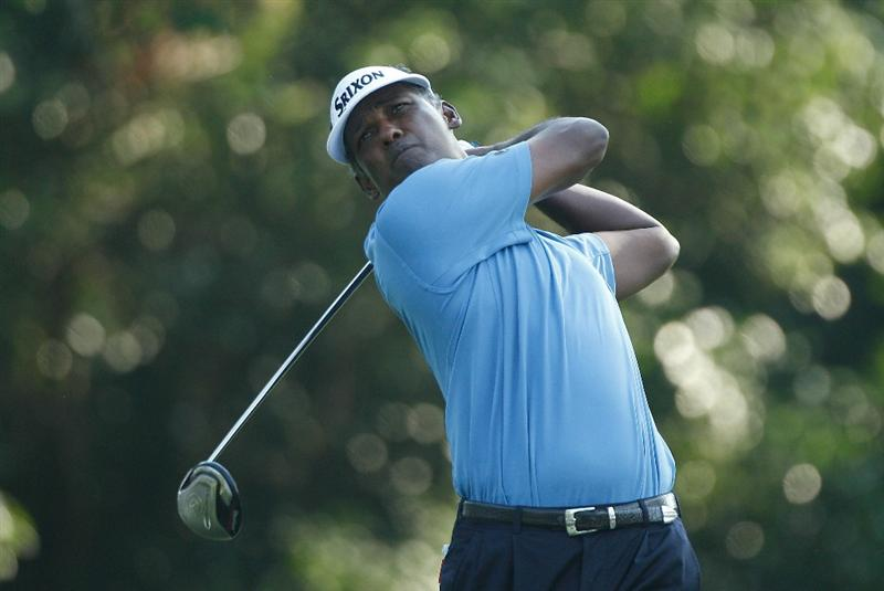 FT. WORTH, TX - MAY 27:  Vijay Singh of Fiji watches his tee shot on the 12th hole during the first round of the 2010 Crowne Plaza Invitational at the Colonial Country Club on May 27, 2010 in Ft. Worth, Texas  (Photo by Scott Halleran/Getty Images)