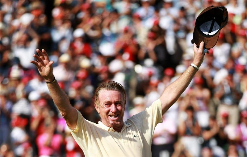CRANS, SWITZERLAND - SEPTEMBER 05:  Miguel Angel Jimenez of Spain celebrates after winning The Omega European Masters on a score of -21 under par at Crans-Sur-Sierre Golf Club on September 5, 2010 in Crans Montana, Switzerland.  (Photo by Warren Little/Getty Images)