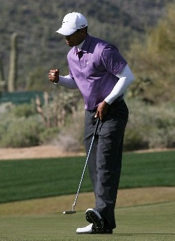 MARANA, AZ - FEBRUARY 23:  Tiger Woods pumps his fist after sinking a birdie putt on the 16th hole during the semifinal matches of the WGC-Accenture Match Play Championship at The Gallery at Dove Mountain on February 23, 2008 in Marana, Arizona.  (Photo by Travis Lindquist/Getty Images)