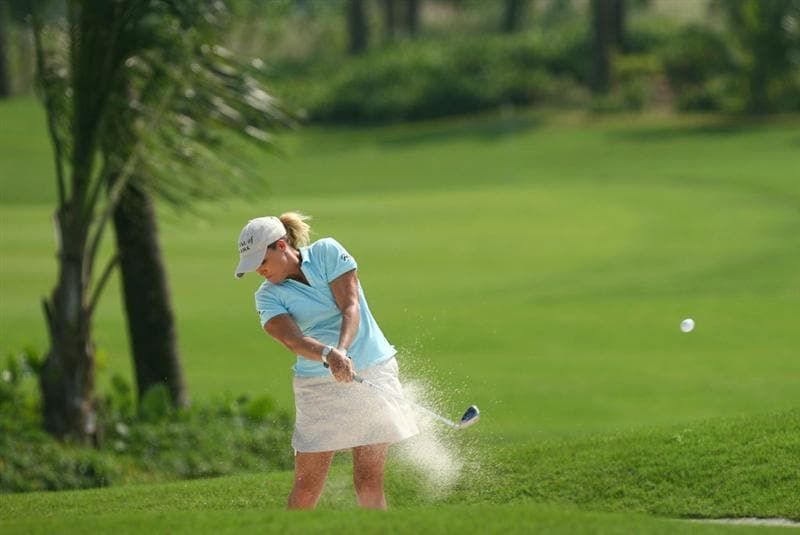 HAIKOU, CHINA - OCTOBER 24: (CHINA OUT) Cristie Kerr of the US plays a shot on the 10th hole during day one of the Grand China Air LPGA 2008 on October 24, 2008 in Haikou of Hainan Province, China. (Photo by China Photos/Getty Images)