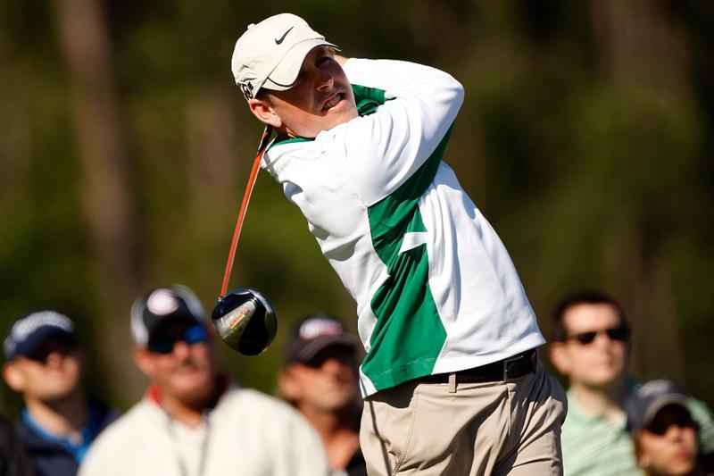 HUMBLE, TX - APRIL 03:  Justin Leonard tees off on the 8th hole during the first round of the Shell Houston Open at Redstone Golf Club April 3, 2009 in Humble, Texas.  (Photo by Chris Graythen/Getty Images)