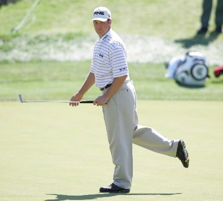 Ted Purdy trying to will his putt in during the third round of The Byron Nelson Championship. Irving, Texas.  May 14, 2005.Photo by Scott Clarke/WireImage.com