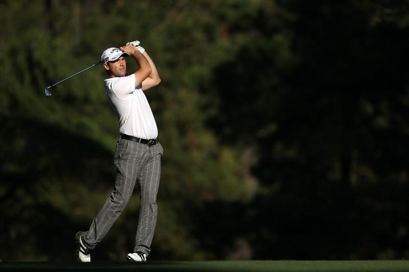 AUGUSTA, GA - APRIL 06:  Oliver Wilson of England hits a shot during a practice round prior to the 2010 Masters Tournament at Augusta National Golf Club on April 6, 2010 in Augusta, Georgia.  (Photo by Andrew Redington/Getty Images)