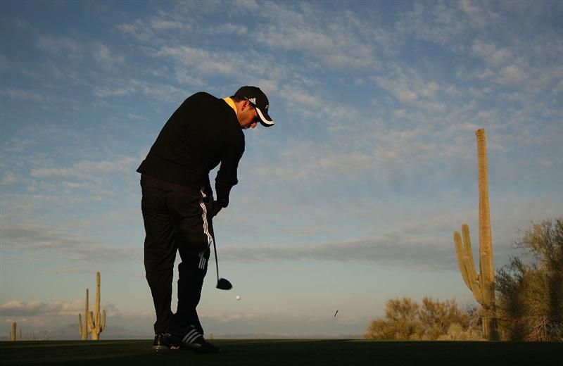 MARANA, AZ - FEBRUARY 20:  Sergio Garcia of Spain tees off on the second tee box during round four of the Accenture Match Play Championship at the Ritz-Carlton Golf Club on February 20, 2010 in Marana, Arizona.  (Photo by Darren Carroll/Getty Images)