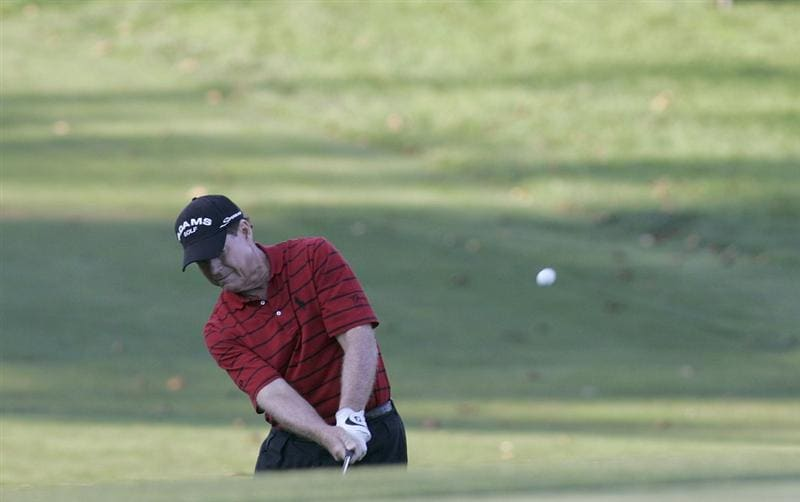 TIMONIUM, MD - OCTOBER 04: Tom Watson hits his third shot on the 18th green during the final round of the Constellation Energy Senior Players Championship at Baltimore Country Club/Five Farms (East Course) held on October 4, 2009 in Timonium, Maryland (Photo by Michael Cohen/Getty Images)