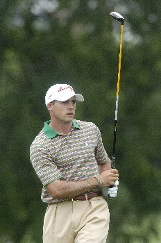 Jonathan Byrd tees off the 7th hole during the first round of The Byron Nelson Championship on Thurday May 12, 2005 at the Cottonwood Vally Course, Los Colinas, TexasPhoto by Marc Feldman/WireImage.com
