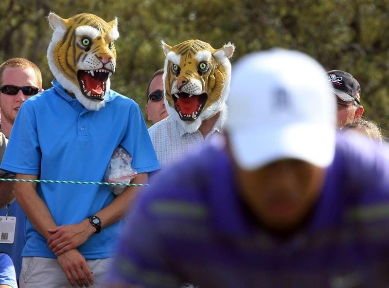 ORLANDO, FL - MARCH 28:  Tiger Woods fans watch the play on the 14th hole during the third round of the Arnold Palmer Invitational at the Bay Hill Club & Lodge on March 28, 2009 in Orlando, Florida.  (Photo by Scott Halleran/Getty Images)