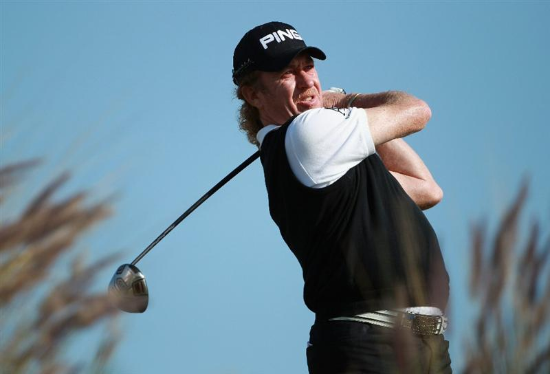 DOHA, QATAR - FEBRUARY 04:  Miguel Angel Jimenez of Spain in action during the second round of the Commercialbank Qatar Masters held at Doha Golf Club on February 4, 2011 in Doha, Qatar.  (Photo by Andrew Redington/Getty Images)