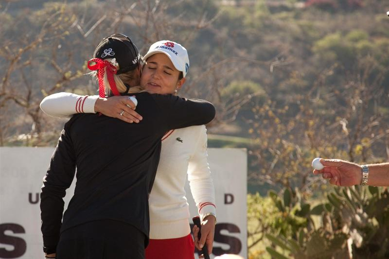 MORELIA, MEXICO - APRIL 29: Lorena Ochoa of Mexico hugs playing partner Natalie Gulbis prior to the start of the first round of the Tres Marias Championship at the Tres Marias Country Club on April 29, 2010 in Morelia, Mexico. (Photo by Darren Carroll/Getty Images)