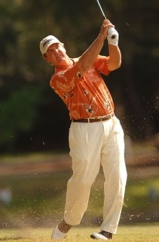 Tom Purtzer hits from the 13th fairway during the final round of the Champion's TOUR 2005 SBC Championship at Oak Hill Country Club in San Antonio, Texas October 23, 2005.Photo by Steve Grayson/WireImage.com