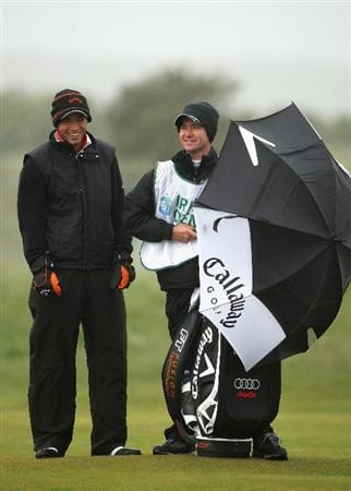 BALTRAY, IRELAND - MAY 16:  Nick Dougherty of England waits with his caddie Michael Kerr (R) on the second hole during the third round of The 3 Irish Open at County Louth Golf Club on May 16, 2009 in Baltray, Ireland.  (Photo by Andrew Redington/Getty Images)