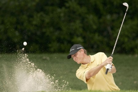 Maarten Lafeber blasts out of a bunker during the third round of the 2005 Barclays Scottish Open at the Loch Lomond Golf Club in Glasgow, Scotland on July 9, 2005.Photo by Pete Fontaine/WireImage.com