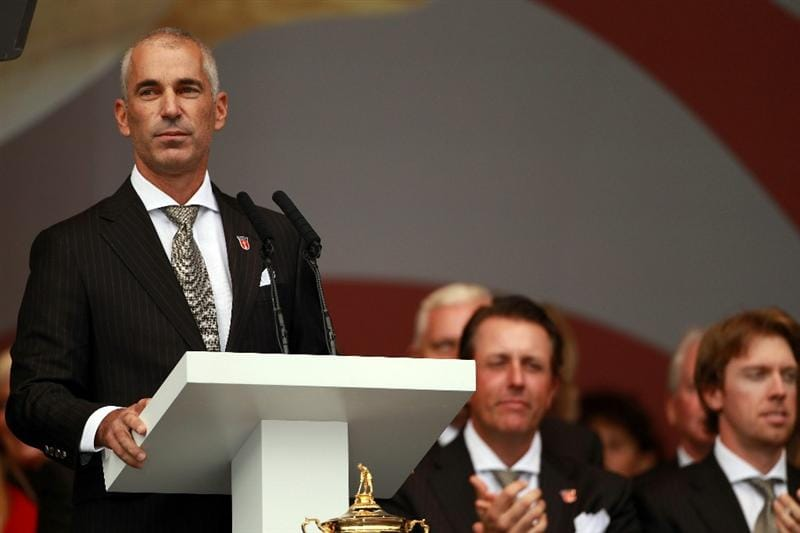 NEWPORT, WALES - SEPTEMBER 30:  USA Team Captain Corey Pavin speaks during the Opening Ceremony prior to the 2010 Ryder Cup at the Celtic Manor Resort on September 30, 2010 in Newport, Wales.  (Photo by Andrew Redington/Getty Images)