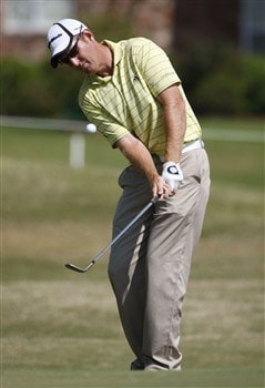 BROUSSARD, LA - MARCH 30: Greg Owen chips to the 1st green during the final round of the 2008 Chitimacha Louisiana Open at the Le Triomphe Country Club on March 30, 2008 in Broussard, Louisiana. (Photo by Dave Martin/Getty Images)