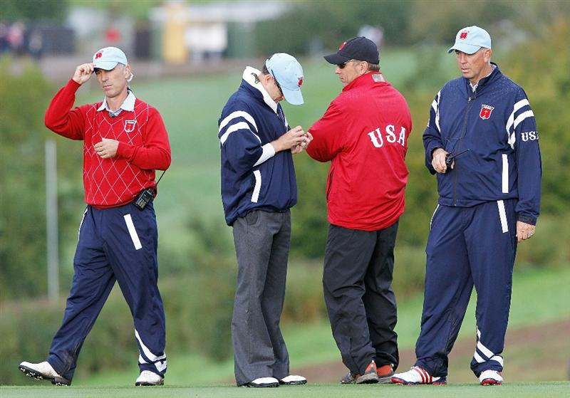 NEWPORT, WALES - OCTOBER 03:  USA Team Captain Corey Pavin (L) looks on during the  Fourball & Foursome Matches during the 2010 Ryder Cup at the Celtic Manor Resort on October 3, 2010 in Newport, Wales.  (Photo by Sam Greenwood/Getty Images)