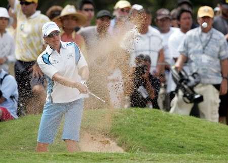 KAHUKU, HI - FEBRUARY 16:  Annika Sorenstam of Sweden hits her third shot on the 12th hole during the final round of the SBS Open on February 16, 2008  at the Turtle Bay Resort in Kahuku, Hawaii.  (Photo by Andy Lyons/Getty Images)