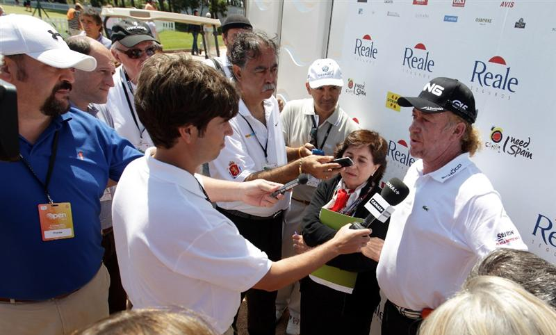 BARCELONA, SPAIN - MAY 06:  Miguel Angel Jimenez of Spain talks to the press after the second round of the Open de Espana at the the Real Club de Golf El Prat on May 6 , 2011 in Barcelona, Spain.  (Photo by Ross Kinnaird/Getty Images)
