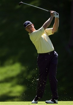 DUBLIN, OH - MAY 29:  Ernie Els of South Africa hits his second shot on the 15th hole during the first round of The Memorial on May 29, 2008 at the Muirfield Village Golf Club in Dublin, Ohio.  (Photo by Andy Lyons/Getty Images)