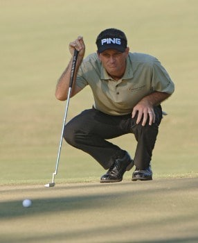 Mark Wilson lines up a birdie putt on the third green during the first round on the Copperhead Course of the 2005 Chrysler Championship October 27 in Palm Harbor, Florida.Photo by Al Messerschmidt/WireImage.com