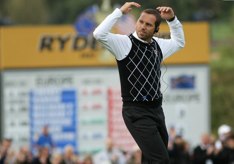 NEWPORT, WALES - OCTOBER 02:  Europe Vice Captain Sergio Garcia encourages the crowd during the rescheduled Afternoon Foursome Matches during the 2010 Ryder Cup at the Celtic Manor Resort on October 2, 2010 in Newport, Wales. (Photo by Jamie Squire/Getty Images)