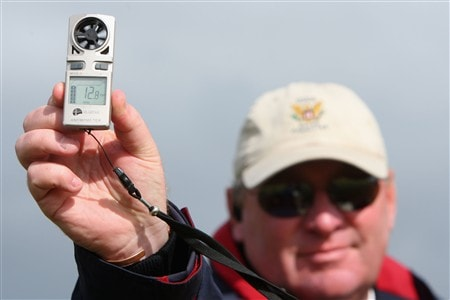 SOUTHPORT, UNITED KINGDOM - JULY 19:  A rules official checks the wind conditions during the third round of the 137th Open Championship on July 19, 2008 at Royal Birkdale Golf Club, Southport, England.  (Photo by Stuart Franklin/Getty Images)
