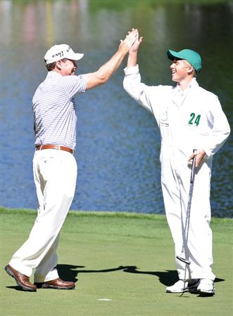 AUGUSTA, GA - APRIL 06:  Tom Watson celebrates with his caddie during the Par 3 Contest prior to the 2011 Masters Tournament at Augusta National Golf Club on April 6, 2011 in Augusta, Georgia.  (Photo by Harry How/Getty Images)