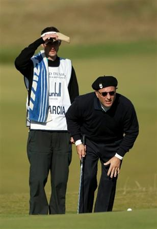 KINGSBARNS, SCOTLAND - OCTOBER 07:  Hollywood film actor Andy Garcia with his caddie on the seventh green during the first round of The Alfred Dunhill Links Championship at Kingsbarns Golf Links on October 7, 2010 in Kingsbarns, Scotland.  (Photo by Andrew Redington/Getty Images)