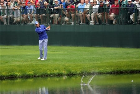 AUGUSTA, GA - APRIL 08:  Sergio Garcia of Spain skips his ball in the water during the second day of practice prior to the start of the 2008 Masters Tournament at Augusta National Golf Club on April 8, 2008 in Augusta, Georgia.  (Photo by Harry How/Getty Images)