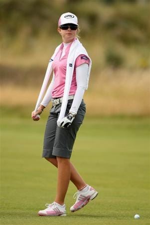 LYTHAM ST ANNES, ENGLAND - JULY 31:  Paula Creamer of USA walks down the 16th hole during the second round of the 2009 Ricoh Women's British Open Championship held at Royal Lytham St Annes Golf Club, on July 31, 2009 in  Lytham St Annes, England.  (Photo by Warren Little/Getty Images)