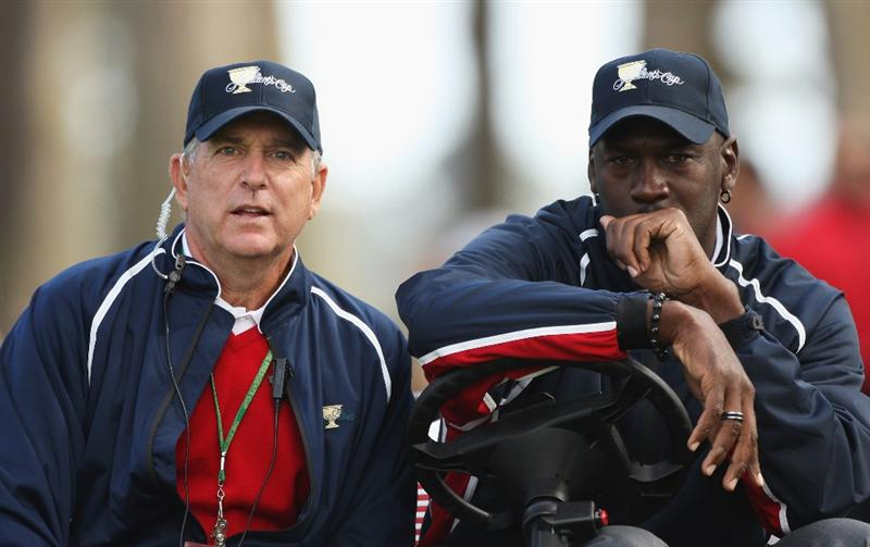 SAN FRANCISCO - OCTOBER 08:  Assistant USA Captain Jay Haas and Michael Jordan USA Team Assistant look on during the Day One Foursome Matches of The Presidents Cup at Harding Park Golf Course on October 8, 2009 in San Francisco, California.  (Photo by Warren Little/Getty Images)