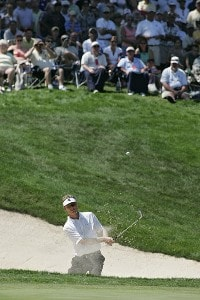 John Senden plays his third shot on the 18th hole during the final round of the John Deere Classic at TPC Deere Run in Silvis, Illinois on July 16, 2006.Photo by Michael Cohen/WireImage.com