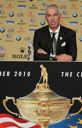 NEWPORT, WALES - SEPTEMBER 30:  USA Team Captain Corey Pavin answers questions from the media at a press conference following the Opening Ceremony prior to the 2010 Ryder Cup at the Celtic Manor Resort on September 30, 2010 in Newport, Wales.  (Photo by Jamie Squire/Getty Images)