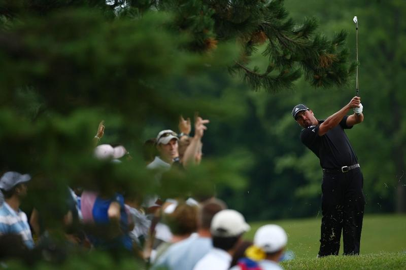 OAKVILLE, ONTARIO - JULY 27:  Pat Perez plays his second shot on the fifth hole during the final round of the RBC Canadian Open at Glen Abbey Golf Club on July 27, 2009 in Oakville, Ontario, Canada.  (Photo by Chris McGrath/Getty Images)