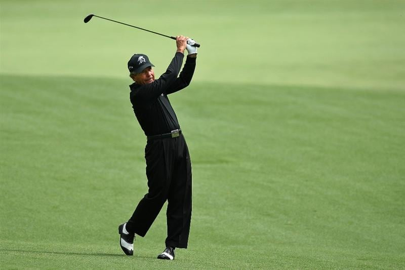 AUGUSTA, GA - APRIL 10:  Gary Player of South Africa hits a shot on the 13th hole during the second round of the 2009 Masters Tournament at Augusta National Golf Club on April 10, 2009 in Augusta, Georgia.  (Photo by David Cannon/Getty Images)