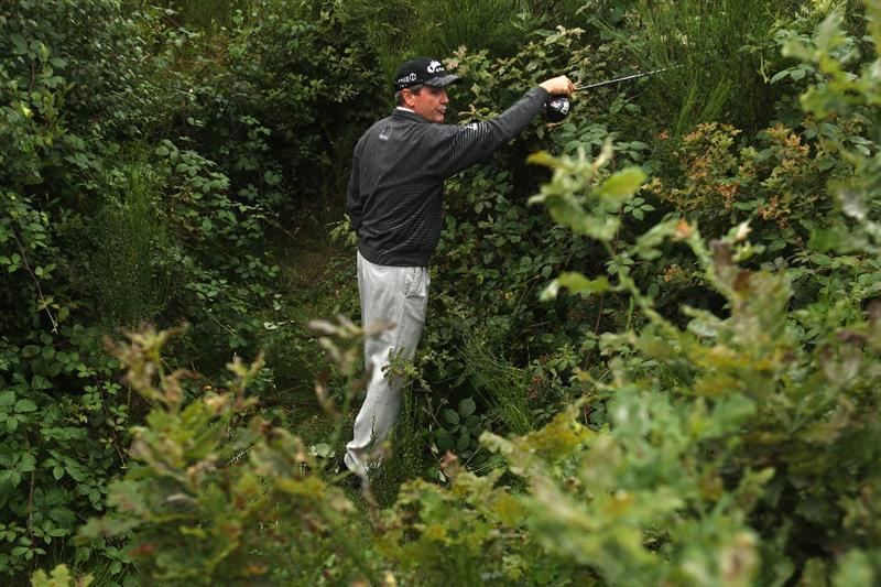SUNNINGDALE, ENGLAND - JULY 26:  Mark McNulty of Ireland takes a drop on the third play-off hole during the final round of The Senior Open Championship presented by MasterCard held on the Old Course at Sunningdale Golf Club on July 26, 2009 in Sunningdale, England.  (Photo by Warren Little/Getty Images)