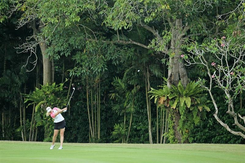 SINGAPORE - FEBRUARY 25: Brittany Lincicome of the USA hits her second shot on the 4th hole during the first round of the HSBC Women's Champions at Tanah Merah Country Club on February 25, 2010 in Singapore, Singapore.  (Photo by Andy Lyons/Getty Images)
